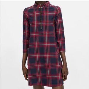 Zara Basic Plaid Turtleneck Pocket Shift Dress
